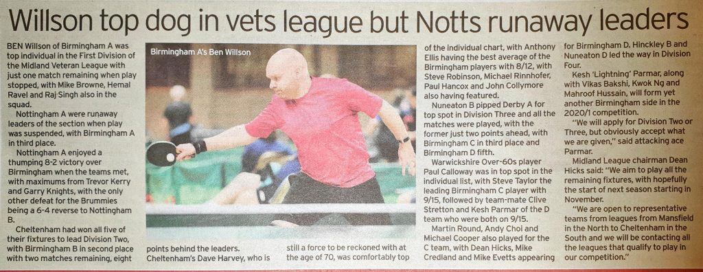 Willson top dog in vets league but Notts runaway leaders